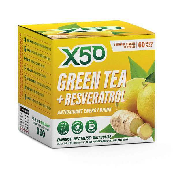 Green Tea X50 + Resveratrol - Lemon & Ginger (60 Sachets)