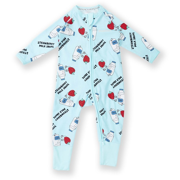 Bonds: Zip Wondersuit Long Sleeve - Strawberry Milk Shake (6-12 Months)