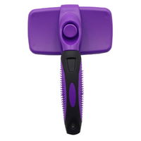 Self-Cleaning Retractable Hair Brush - For Cats & Dogs (Purple)