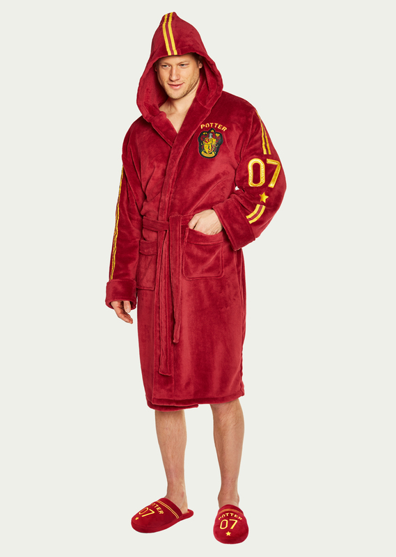 Harry Potter: Quidditch Fleece Hooded Robe - Red & Yellow Adult (One Size)