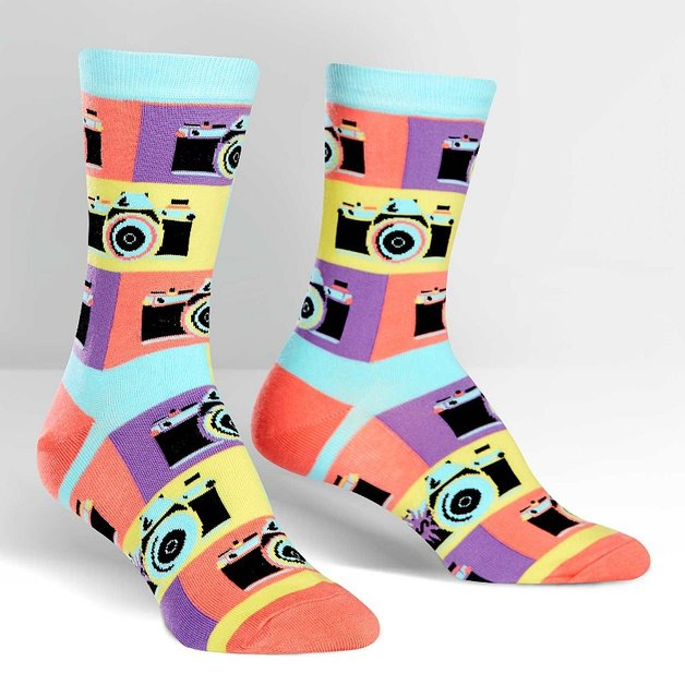 SOCK it to Me: Womens Crew Socks - Say Cheese!