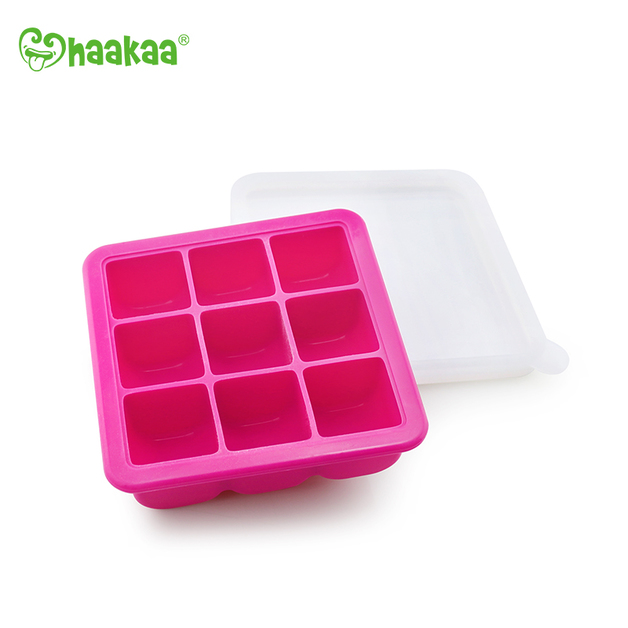 Haakaa: Silicone Baby Food Freezer Tray 9 with Lid - Rose