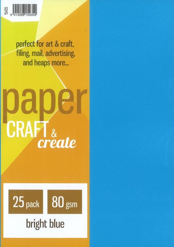 Craft & Create A4 80gsm Paper - Bright Blue (25 Pack)