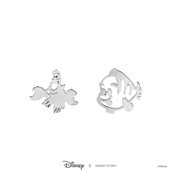 Short Story: Disney Earring Ariel Sebastian and Flounder - Silver