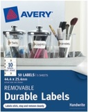 Avery Rectangle Removable Labels White with Brown Details 44.4mm x 25.4mm Pkt50