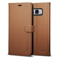 Spigen Galaxy S8 Premium Wallet Case Coffee Brown