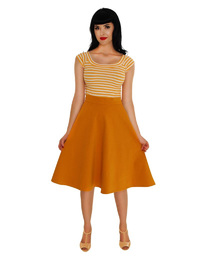Retrolicious: Striped Boat Neck Top in Mustard - (Large)