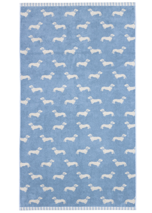 Emily Bond Bath Towel - Blue Dachshunds