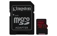 128GB Kingston Canvas React MicroSDXC Card + SD Adapter - Class 10 UHS-I U3 A1