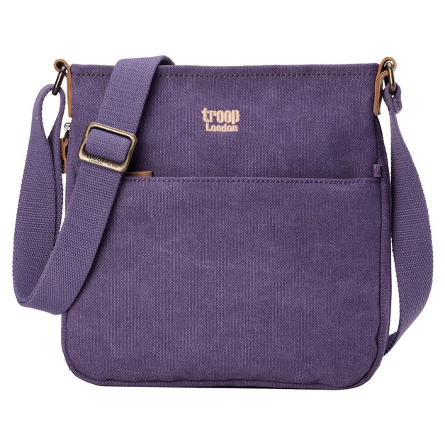 Troop London: Classic Small Zip Top Shoulder Bag - Purple