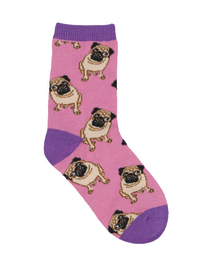 Kid's (7-10 Years) Pug Crew Socks - Pink