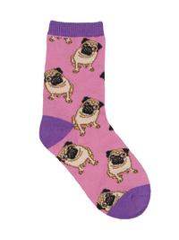 Kid's (7-10 Years) Pug Crew Socks - Pink