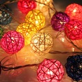 Colourful Rattan String Lights (20 LED)