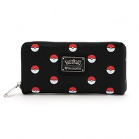 Loungefly Pokemon Pokeball Print Zip Around Wallet
