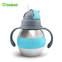 Haakaa: Stainless Steel Thermal Bottle with Straw - Blue (280ml)