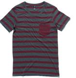 Stripe Pocket T-Shirt - Asphalt Marle/Burgundy (Small)