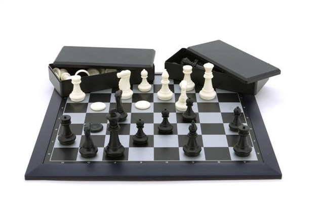 Large Magnetic Chess & Checkers Set (Black/White)