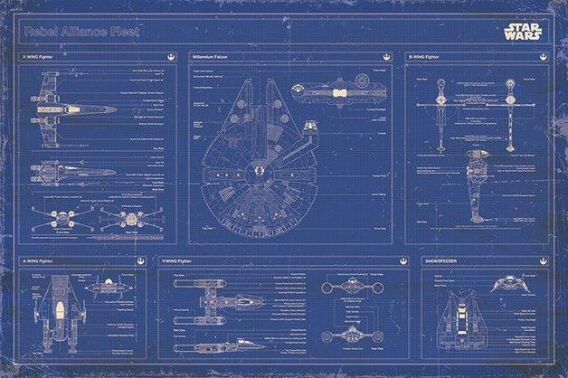 Star Wars Rebel Alliance Fleet Blueprint Wall Poster (240)