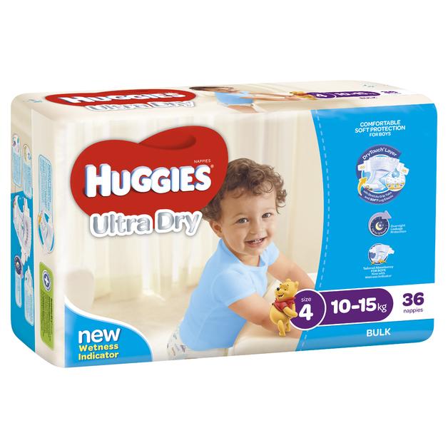 Huggies Ultra Dry Nappies Bulk - Size 4 Toddler Boy (36)