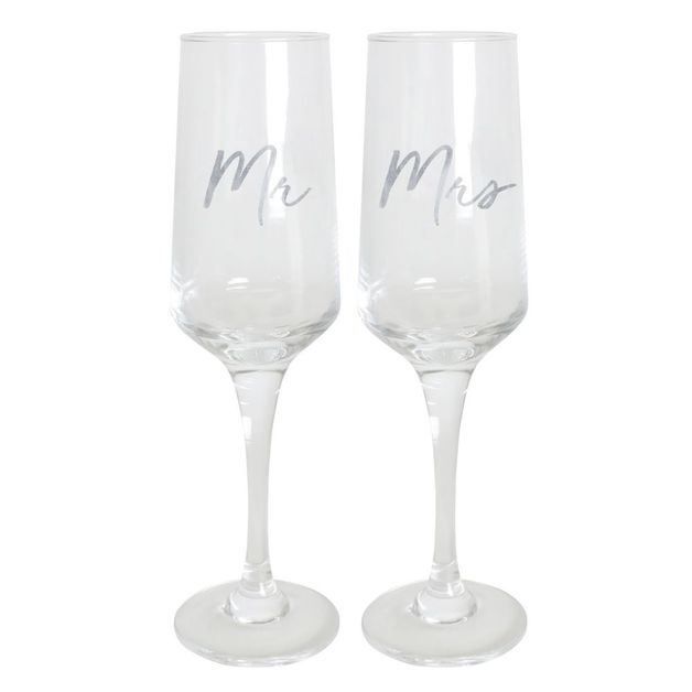 Wedding Champagne Flute Set - Mr & Mrs
