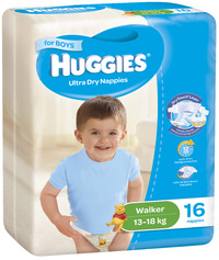 Huggies Ultra Dry Nappies - Size 5 Walker Boy (16)