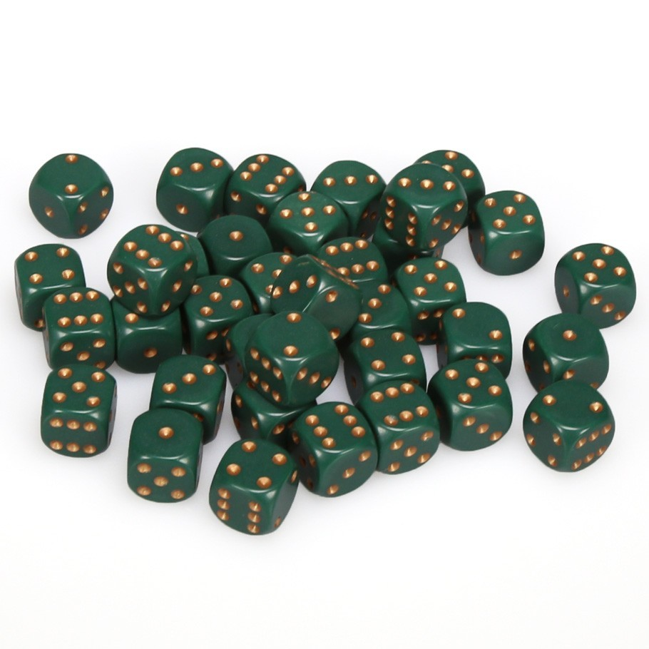 Chessex: D6 Opaque Cube Set (12mm) - Dusty Green/Copper image