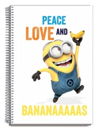 Minions: A4 Notebook - Peace Love Banana