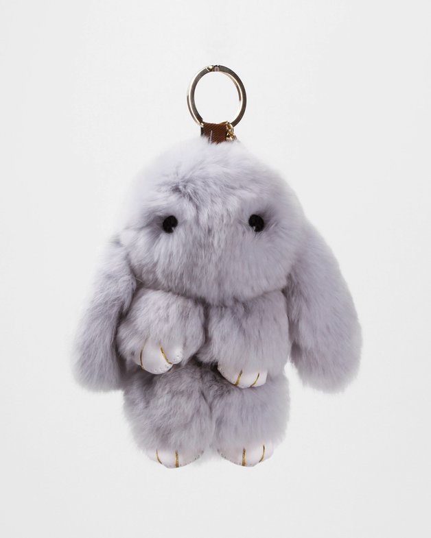 Belle and Bloom: Faux Fur Bunny Keychain - Grey