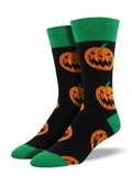 Mens Halloween Pumpkins Crew Socks - Black