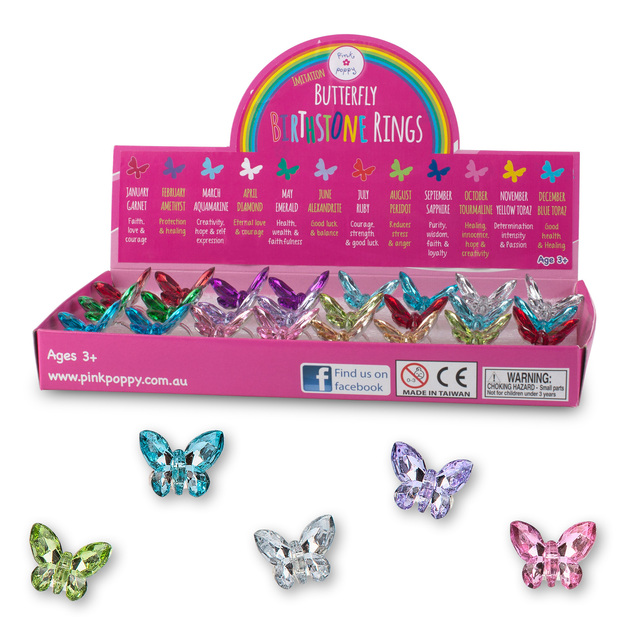 Imitation Butterfly - Birthstone Ring (Assorted Colours)