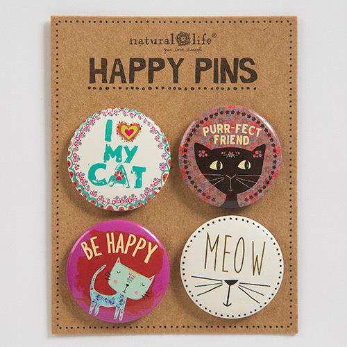Natural Life: Happy Pin - Cat (Set of 4)