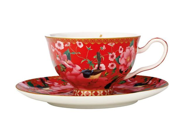 Maxwell & Williams Teas & C's: Silk Road Foot Cup & Saucer - Cherry Red