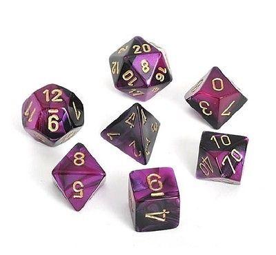 Chessex Gemini Polyhedral Dice Set Black-Purple/Gold