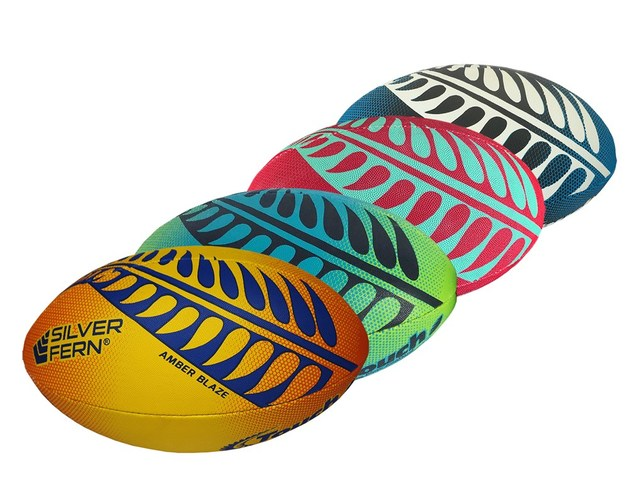 Silver Fern Touch Rugby Ball Trainer - Amber Blaze (Size 4)