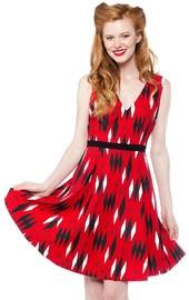 Sourpuss: Retro Red Diamonds Dress (Large)