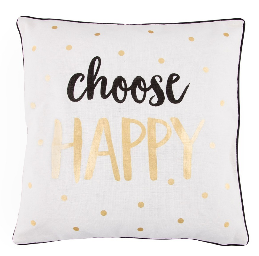 Metallic Monochrome Choose Happy Cushion image