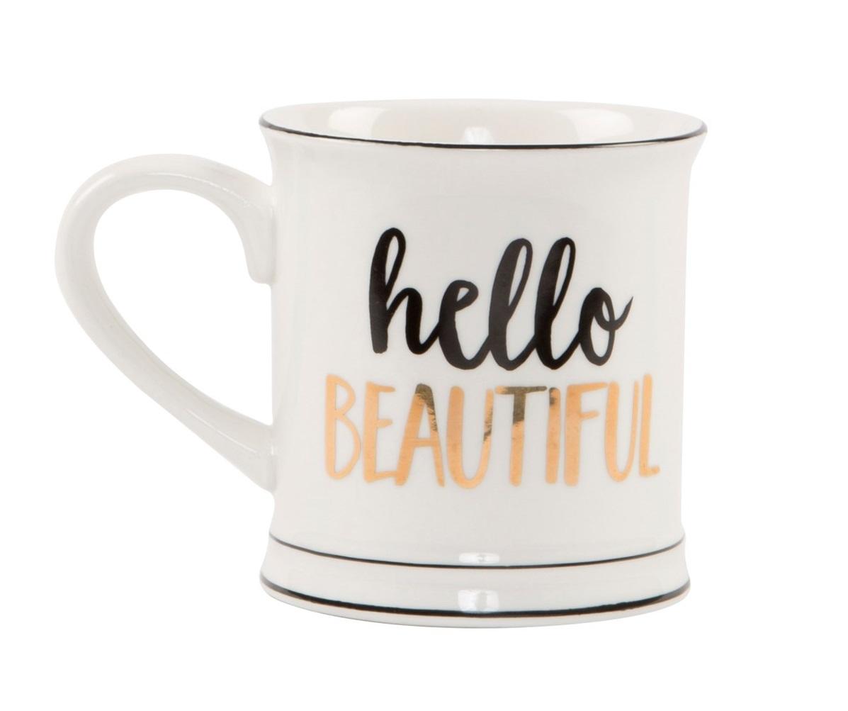 Hello Beautiful - Metallic Monochrome Mug image