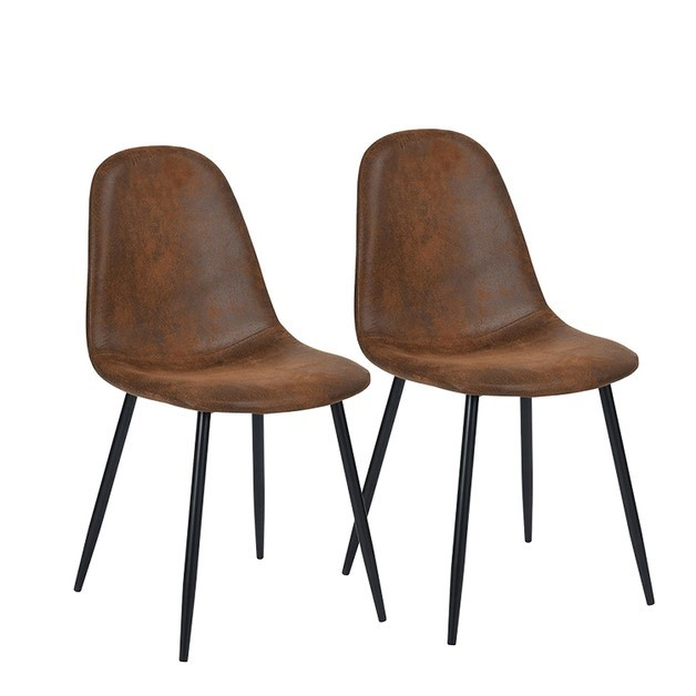 Fraser Country Modern Leathaire Dining Chair Set of 2 - Brown