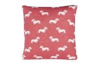Emily Bond Knit Cushion - Pink Dachshunds