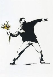 Blue Island Press Cards: Banksy - Throw Flowers