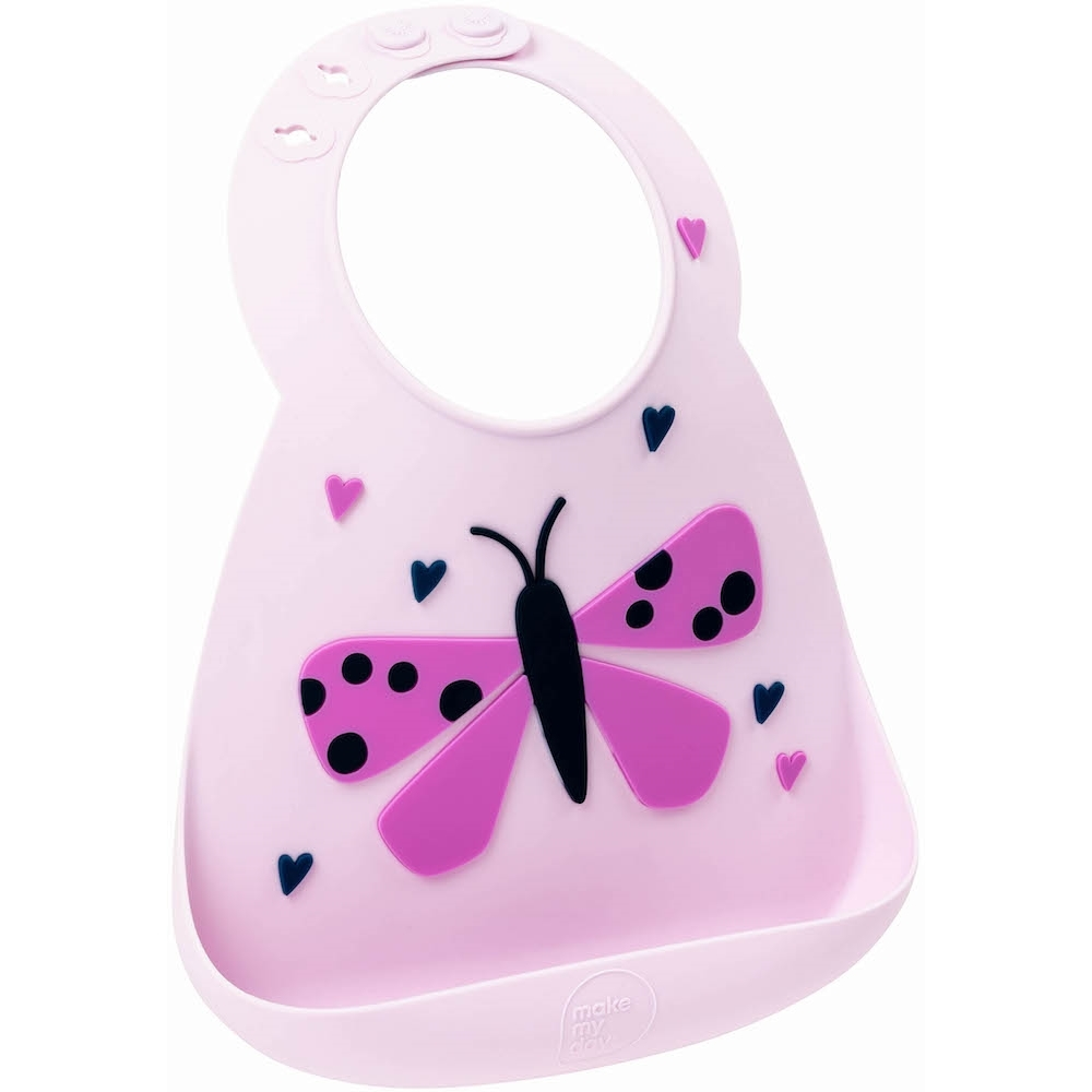 Make My Day: Silicon Baby Bib - Butterfly Pink image
