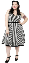 Sourpuss: Striped Sweetheart Dress Black/White (XX-Large)