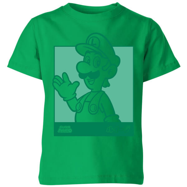 Nintendo Super Mario Luigi Kanji Line Art Kids' T-Shirt - Kelly Green - 11-12 Years