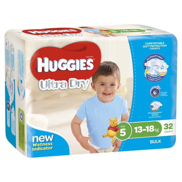 Huggies Ultra Dry Nappies Bulk - Size 5 Walker Boy (32)