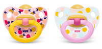 NUK: Classic Happy Kids Latex Soothers - 18+ Months (2 Pack) - Pink + Yellow