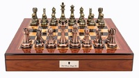 "Dal Rossi: Copper/Bronze - 20"" Chess Set (Walnut Finish)"
