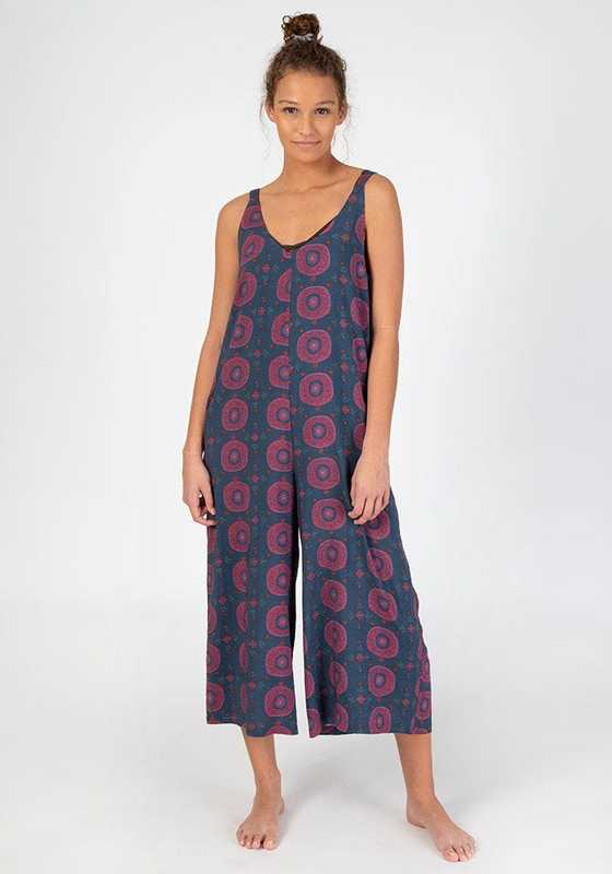 Natural Life: Jumpsuit - Navy Berry Medallion (Small)