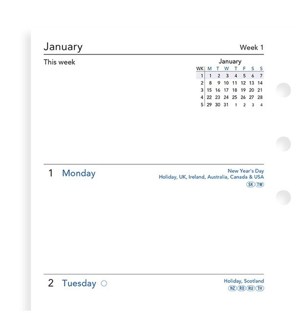 Filofax: Personal 2021 Refill - Week on Two Pages (Unlined)