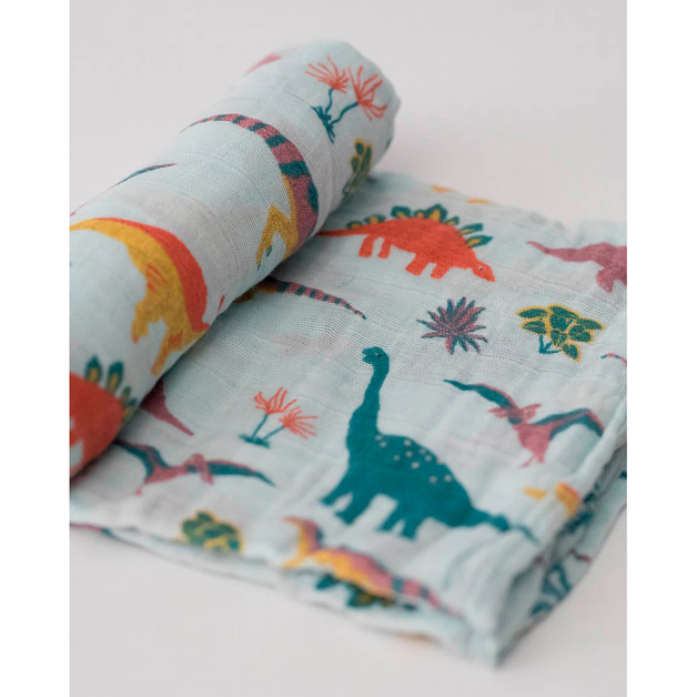 Little Unicorn: Cotton Muslin Swaddle - Embroidosaurus (Single)