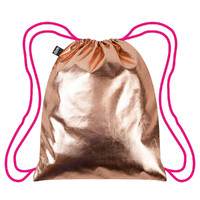Loqi: Backpack Metallic Neon Collection - Rose Gold – Pink Drawstrings image